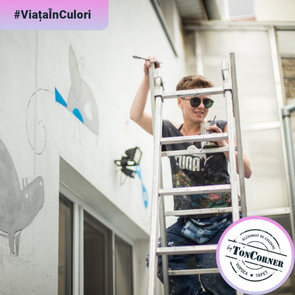 """#ViațaÎnCulori cu Lucia Mârneanu: """"O pictură murală e un micro-șantier"""""""